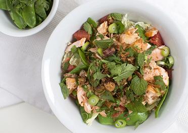Asian Salmon Salad with Pink Grapefruit